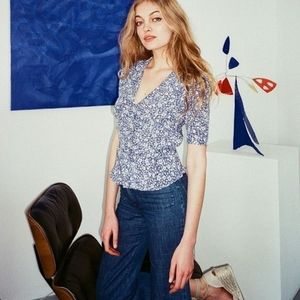 😲ROUJE Momo Blouse in Rare Blue Clover Colorway